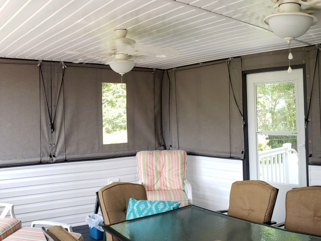 clear vinyl window drop curtain roll up drape fabric canvas sunbrella outdoor living porch enclosure lancaster pa