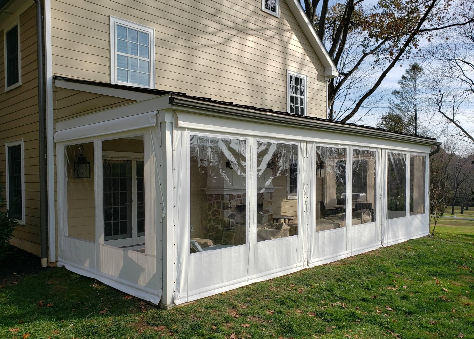 Clear Vinyl Drop Curtains On A Farmhouse Porch Kreider