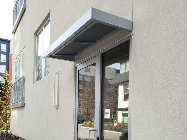 commercial door awning aluminum sunbrella gray fabric combination