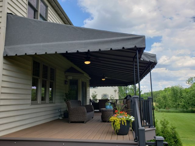 Large deck awning cover stationary canopy patio shade ceiling fan and powder coated frame permanent fixed