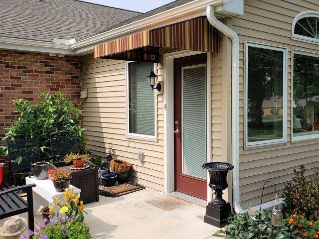 Entrance door awning cover Sunbrella fabric canvas shade