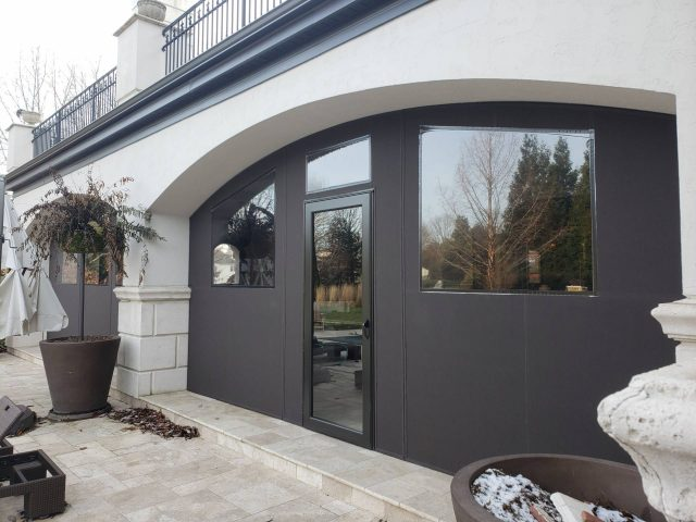 Flat panel removable fabric porch enclosure
