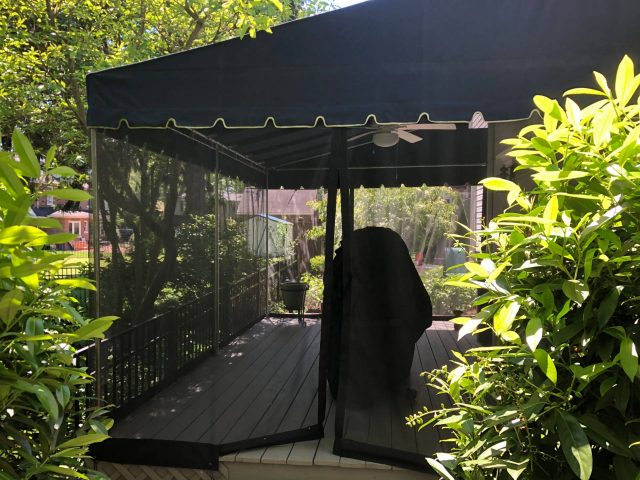 stationary canopy screens ceiling fan outdoor deck living room sunbrella navy blue lancaster pa mosquito netting