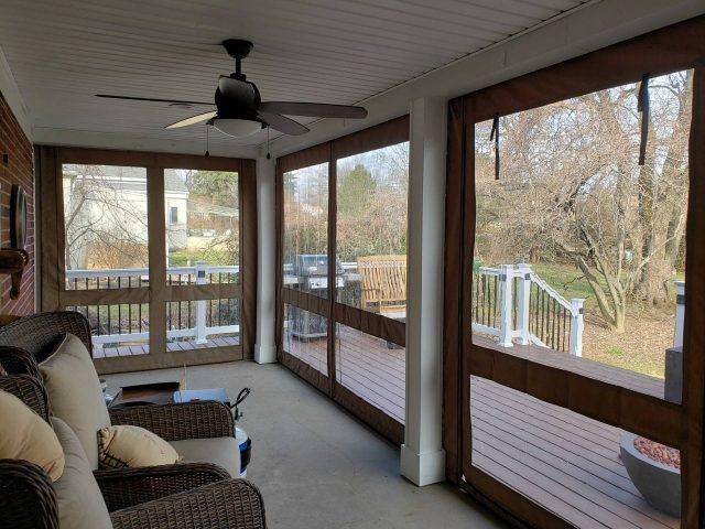 Drop curtain porch enclosure - clear vinyl windows - sunbrella