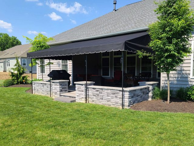 Fixed awning stationary canopy patio cover fabric canvas Sunbrella lancaster pa